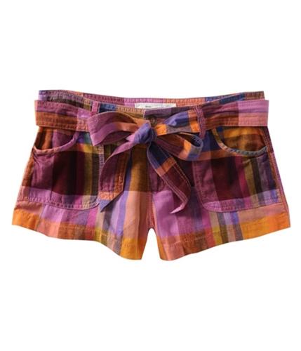 Aeropostale Womens Plaid Removable Casual Chino Shorts oranges 00