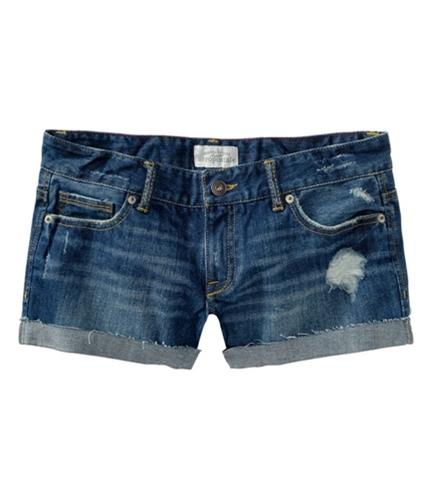 Aeropostale Womens Cut Off Rolled Casual Denim Shorts montaukblue 5/6
