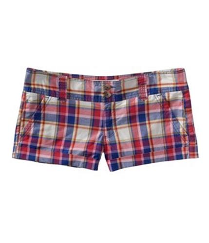 Aeropostale Womens Lightweight Plaid Khaki Casual Chino Shorts pinks 00