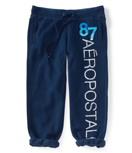 Aeropostale Womens Comfy Fit Cropped Casual Sweatpants navyni L/32