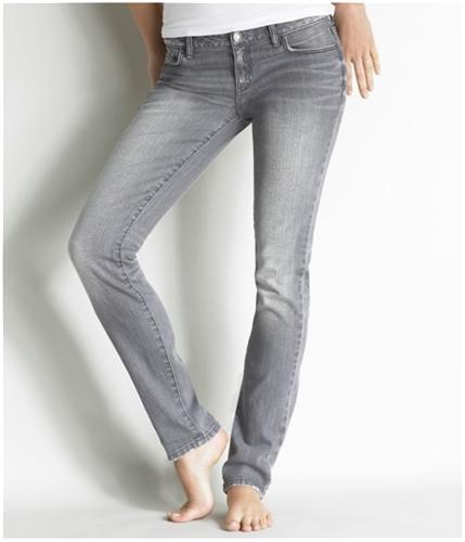 Aeropostale Womens Low Rise Slim Gray Wash Skinny Fit Jeans blackgray 0x32