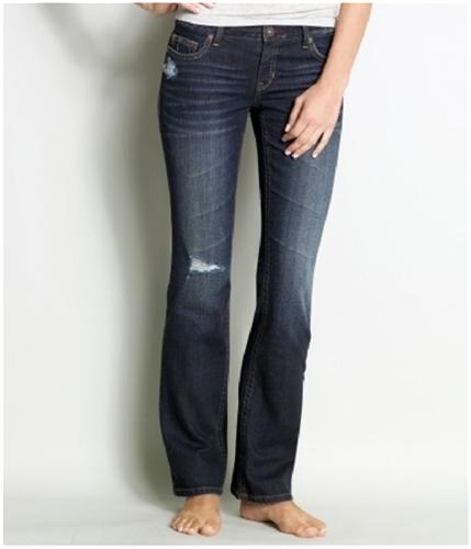 Aeropostale Womens Low Slim Boot Cut Jeans dark 1/2x32
