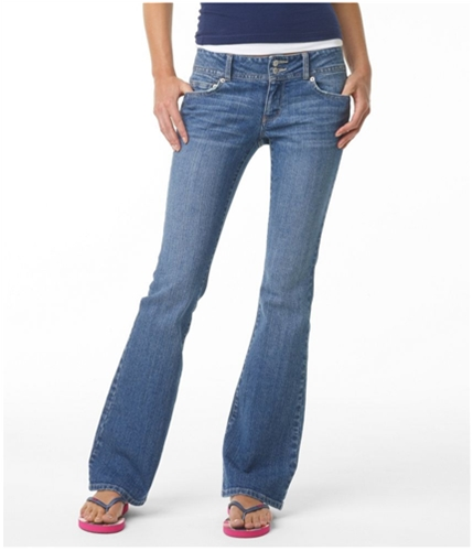 Aeropostale Womens Hailey Super Low Rise Flared Jeans montauk 1/2x30