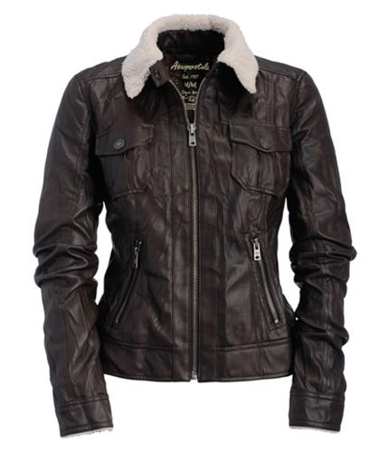Aeropostale Womens Faux Leather Aviator Jacket harvestbrown XS