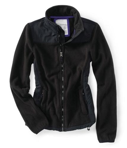 Aeropostale Womens Denali Zip Up Fleece Jacket black XS
