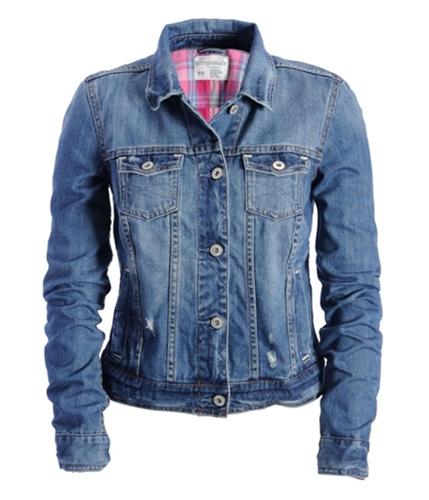 Aeropostale Womens Pocketed Denim Jean Jacket mediumblue XS