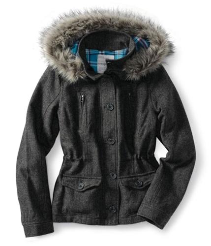 Aeropostale Womens Tweed Faux Fur Lined Field Jacket charcoa M