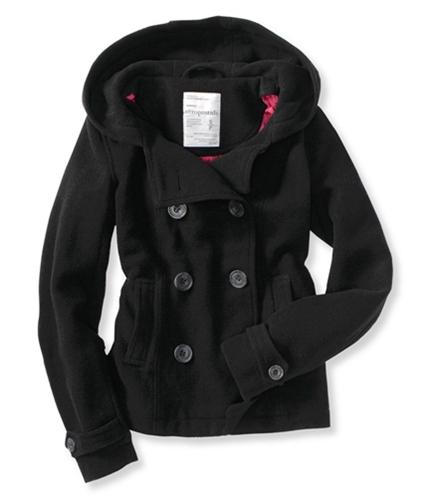 Aeropostale Womens Solid Wool Blend Pea Coat black XS