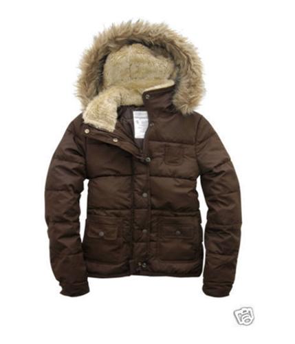 Aeropostale Womens Fur Lined Puffer Jacket richchocolatebrown S