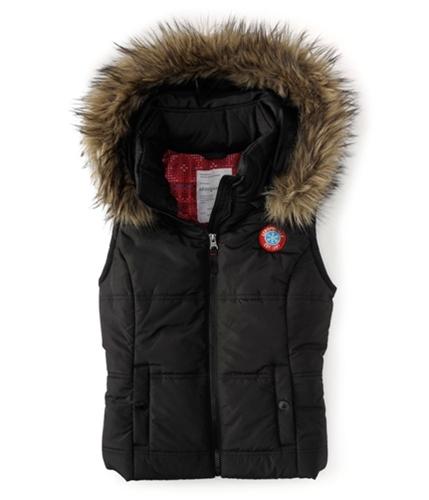 Aeropostale Womens Fur Lined Puffer Vest black XS