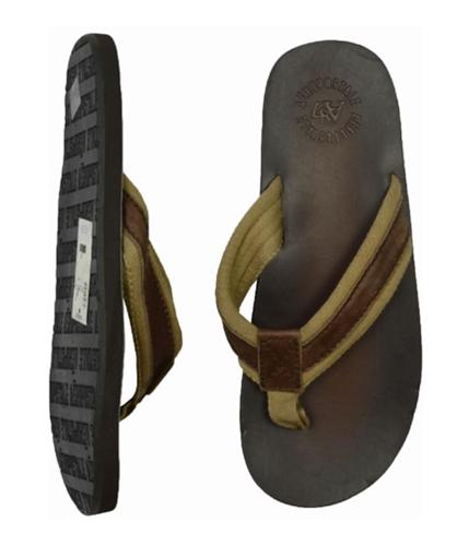 Aeropostale Mens Leather Flip Flop Sandals claybrown S