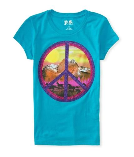 Aeropostale Girls Glitter Peace Graphic T-Shirt 428 4