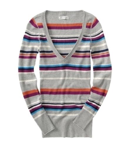 Aeropostale Womens V-neck Stripe Knit Sweater lththrgray M