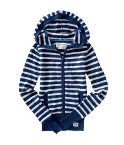 Aeropostale Womens Zip Up Knit Cardigan Sweater steelblue S