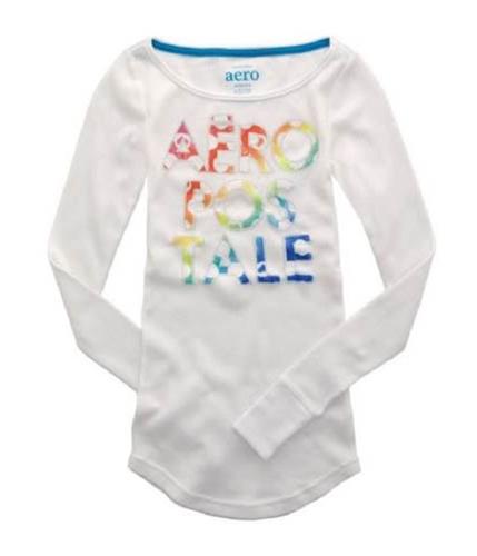 Aeropostale Womens Embroidered Crewneck Thermal Sweater bleachwhites XS