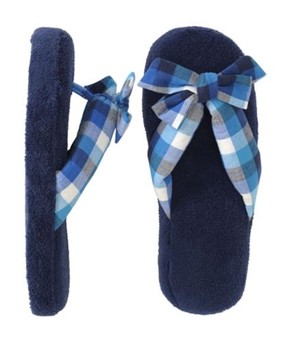 Aeropostale Womens Plaid Flipflop House Ballet Slippers navynightblue S