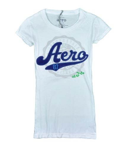 Aeropostale Womens Aero 87 Embroidered Graphic T-Shirt bleachwhite L