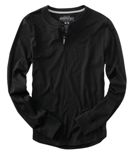 Aeropostale Mens Solid Long Sleeve Henley Shirt black S