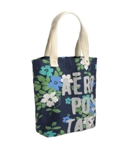 Aeropostale Womens Embroidered Floral Tote Handbag Purse navyblue