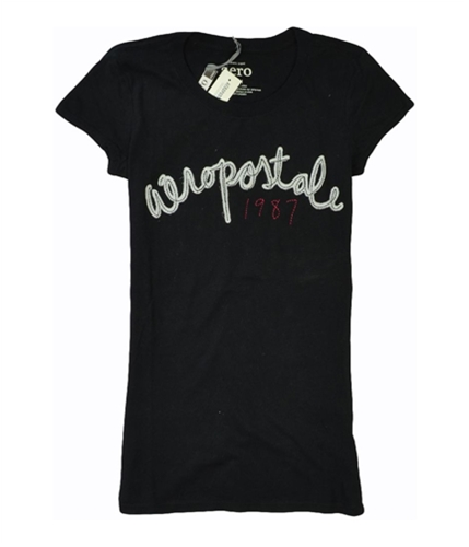 Aeropostale Womens 1987 Embroidered Graphic T-Shirt black M