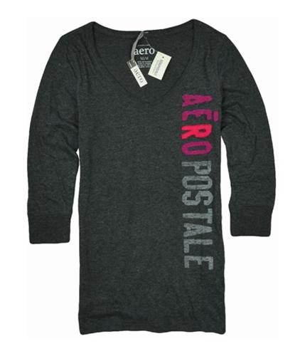 Aeropostale Womens V-neck 3/4 Sleeve Graphic T-Shirt charcoalgray M
