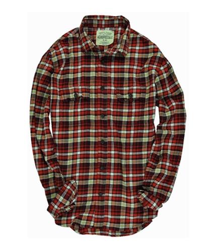 Aeropostale Mens Pocket Flannel Button Up Shirt red L