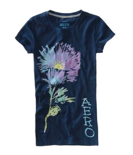 Aeropostale Womens Graphic Paints Dorm Pajama Sleep T-shirt navyblue S
