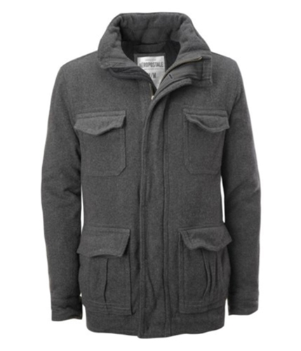 Aeropostale Mens Wool Lined Pea Coat charcoalgray XS