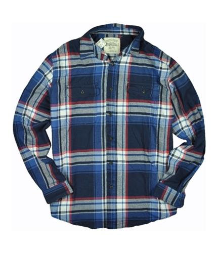 Aeropostale Mens Flannel Button Up Shirt deepnavyblue XL