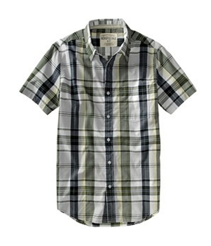 Aeropostale Mens Pocket, Sleeve Button Up Shirt woodlawngreen S