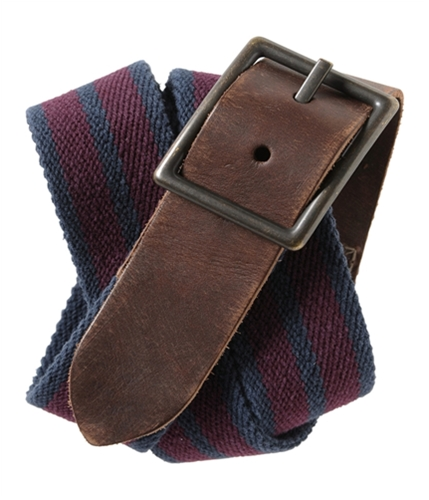 Aeropostale Mens Reversible Web Leather Woven Belt navy S/M