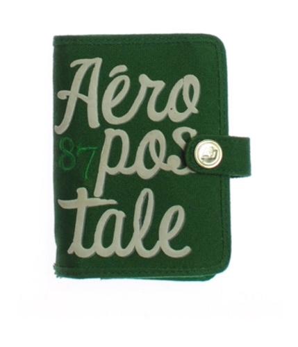 Aeropostale Womens Tiered Logo Tab Wallet Tote Handbag Purse green