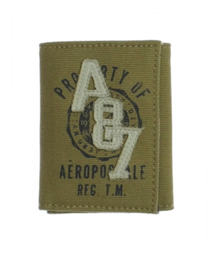 Aeropostale Mens Canvas Embroidered Property Of Bifold Wallet tan One Size