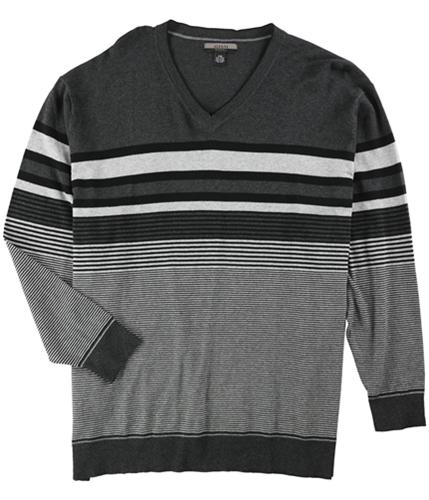 Alfani Mens Bold Pop Striped V Neck Pullover Sweater
