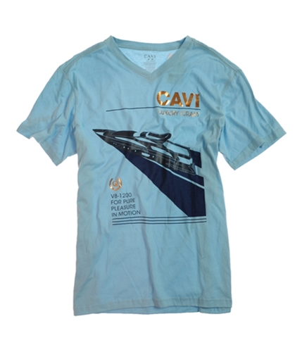 CAVI Mens Luxury Craft Yacht Graphic T-Shirt ltbluegold 2XL