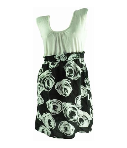 One Clothing Womens Black White Floral Sundress blackwhite M