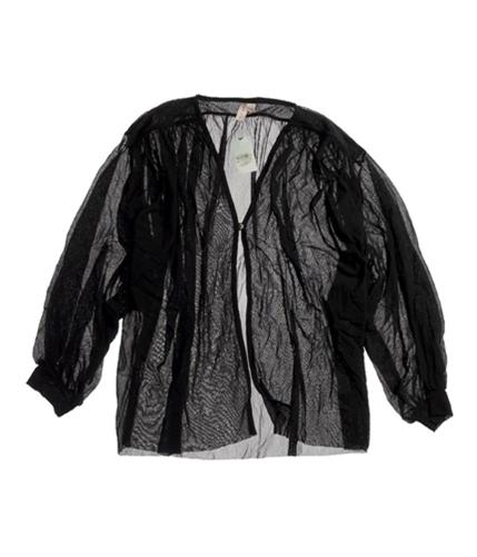 Sweet Pea Womens Seehrough Pullover Blouse black XS