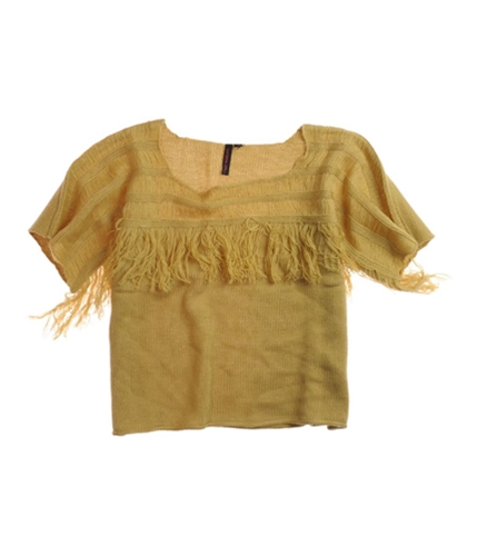 Material Girl Womens Fringed Neckline Knit Sweater latte XS