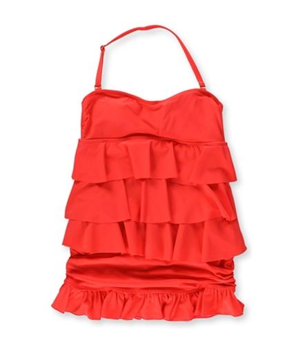 Island Escape Womens Tiered Ruffle Skirt 2 Piece Bikini coral 8