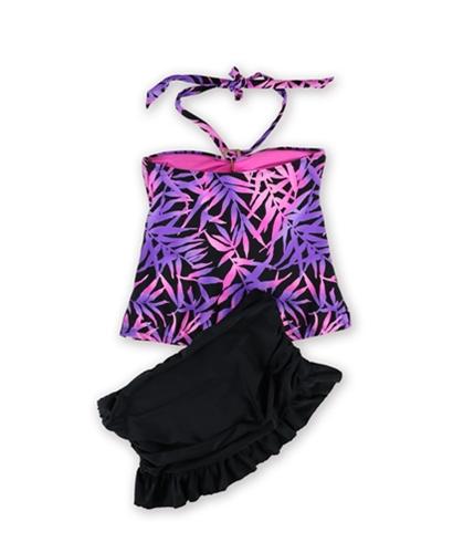 Island Escape Womens Tropical Ruffle Skirtini 2 Piece Bandeau purpleblk 8