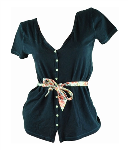 Hollister Womens Button Belted Baby Doll Blouse navy M