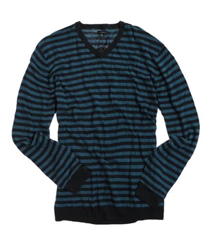 Sons of Intrigue Mens V-neck Stripe Knit Sweater dknavymulti L