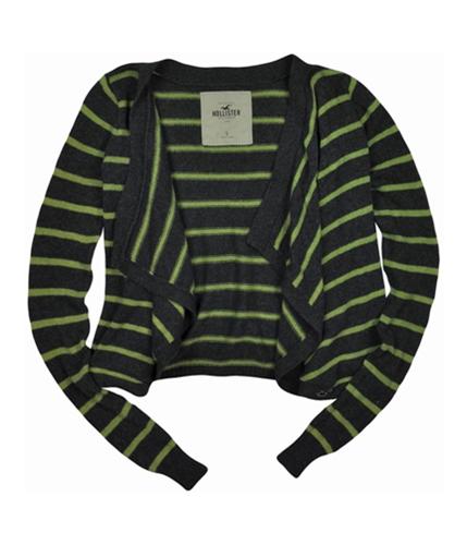 Hollister Womens Stripe Shawl Cardigan Sweater grayyellowgreen S