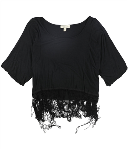 testament Womens Fringed Pullover Blouse black S