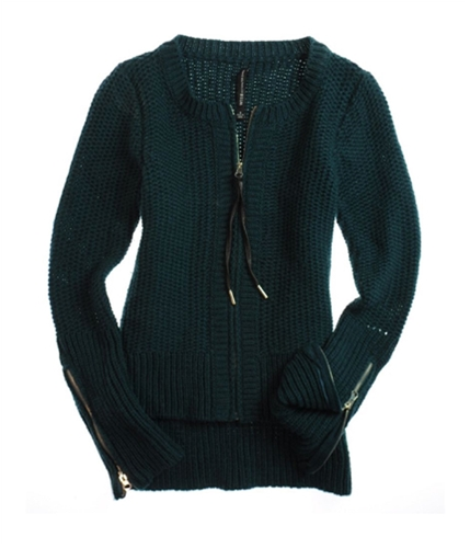 W118 Womens Full Zip Front Cable Knit Sweater teal S