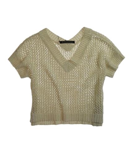 W118 Womens Glittery V-neck Mesh Knit Sweater ivory XS