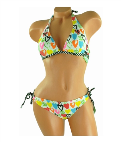 Local Motion Womens Heart Graphic Polka Dot 2 Piece Bikini multicolor S