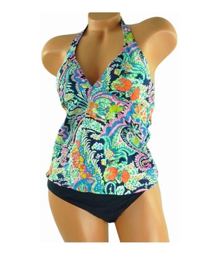 Ralph Lauren Womens Floral Pattern Solid Bottom 2 Piece Tankini navyblue 14