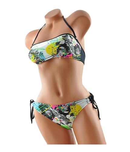 Local Motion Womens Halter String 2 Piece Bikini mul XS