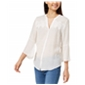 Bcx Womens Lace Inset Button Up Shirt